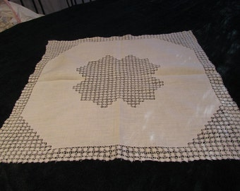 antique tablecloth, drawnwork