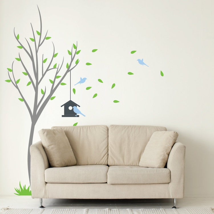 Tree With Bird House And Birds Wall Decal For Living by ...