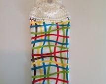 Bright Wavy Plaid Crochet Top Towel  (R5)