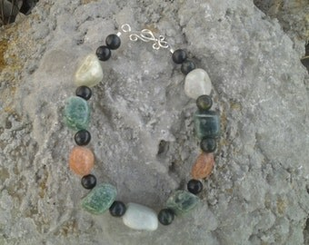 multi gemstone bracelet with sterling silver handmade clasp