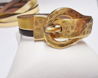 SALE:  Magnetic Clasp, 15mm Antique Gold Buckle Clasp for Flat Leather, brass finding, leather bracelet