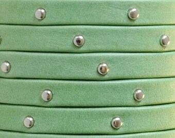 Pre Cuts, 5mm Flat Arizona Green with Silver Tacks Leather Cord, Jewelry finding, Studded Strap