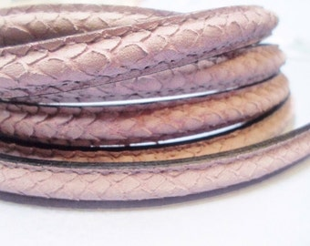 """8"""" Snake Engraved Matte Lilac Half Round, hole, Leather Cord, Finding, Jewelry Supplies, Craft supplies"""