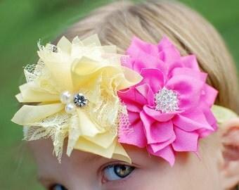 Pink Yellow Headband, Pink Flower Headband, Yellow Flower Headband, Summer Headband, Spring Headband, Newborn Photo Prop, Baby Shower Gift