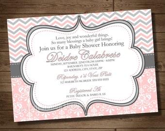 Pink and Gray Baby Shower Invitation PRINTABLE Digital File - Pink Damask Gray Chevron Baby Shower Invitation - My Celebration Shoppe