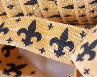 5 or 10 Yards Fleur De Lis Old Gold & Black Print Fold Over Elastic FOE - DIY Hair Ties Headbands No Pull Louisiana Saints