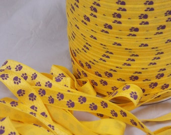 """5 or 10 Yards Yellow Gold and Purple PAW Print Fold Over Elastic 5/8"""" FoE - LSU Tigers Style No Pull Material - DiY Hair Ties & Headbands"""