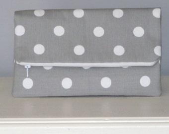Clutch Bag / Clutch Purse / Foldover  Zipper Clutch Bag / Zipper Pouch / Handbag /  Gray Polka Dot