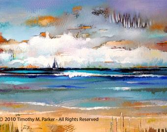 Abstract Landscape Art • Contemporary Landscape and Seascape Painting Reproduction • Two Sail Horizon • Atmospheric Landscape Art