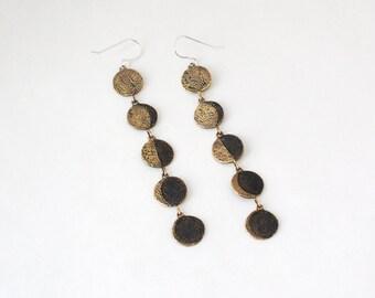 Moon Phase dangle earrings- Brass
