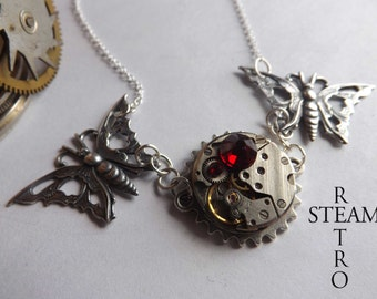10% off sale17 Steampunk Butterfly Necklace - Womens jewelry - Clockwork Butterfly Steampunk Siam Necklace - Christmas gift