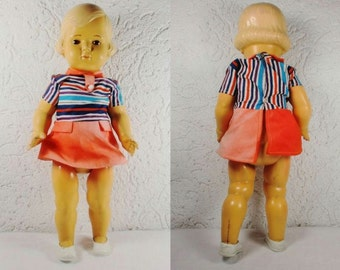 "Age old celluloid doll ""Cellba 43"" with old dress and shoes. Height approx 43 cm. Probably 1940s. VINTAGE"