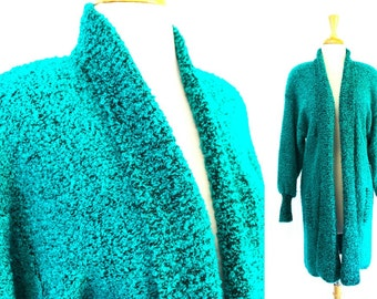Vintage Cardigan Green Oversized Long