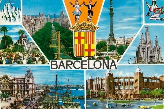 Vintage Barcelona Postcard Spain Sights Of The City
