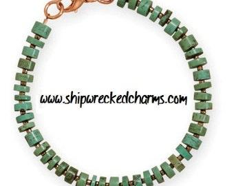 "8"" Magnesite and Glass Bead Copper Men's Bracelet - Masculine Jewelry - Men's Beaded Jewelry"