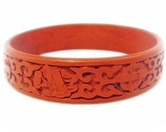 Beautiful Vintage Red Cinnabar Hand Carved Floral Bangle Bracelet