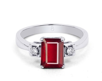 18ct White Gold Ruby & Diamond Engagement Ring 0.1ct 2.5mm