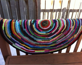 Crochet rug rag. Rug rag from recycled T-shirts. Multicolor rug rag.