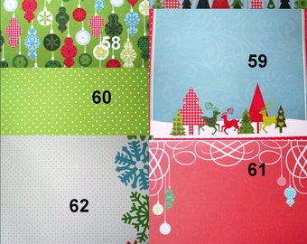 "Designer Paper Sheets  Pack of 5- 1 Sided - 12"" x 12""  square shape - Holiday sheets - Christmas Designer Paper Sheets"