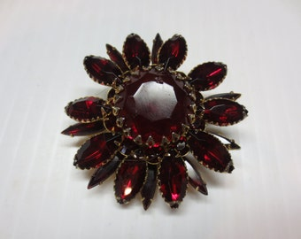 Vintage Judy Lee Siam Red Rhinestone Brooch  #00160