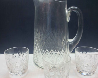 Cut Glass Pitcher and 3 Small Cut Glass Glasses