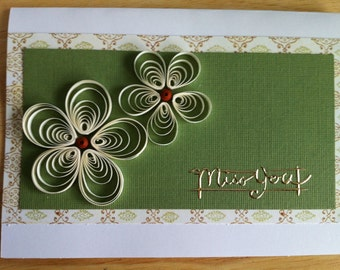Miss you - Quilled daisy card
