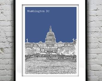Washington DC Skyline Poster Art Print Capitol Building Version 4