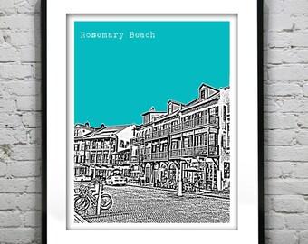 Rosemary Beach Florida Skyline Poster Art Print FL