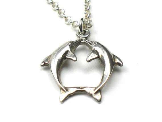 Dolphin Charm Necklace in Silver with Chain and Decorative Clasp