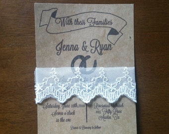 Western Kraft themed wedding invite with lace - 100