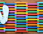 Fun and Bright Rainbow Colored Wood Door mat,  Colorful Doormat Made From Reclaimed Wood, Wooden Patio Mat, Outdoor Shower Mat