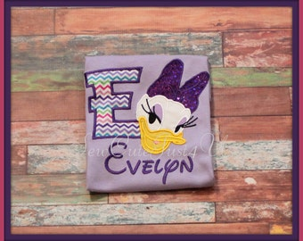 Daisy Duck Personalized Inital or Birthday Number Shirt