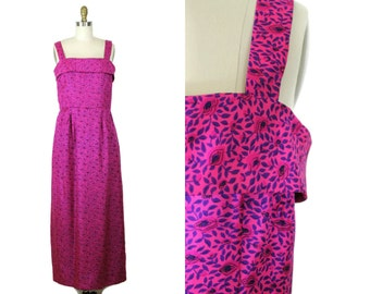 1950s Hot Pink Summer Dress / 50s Pink and Purple Floral Maxi