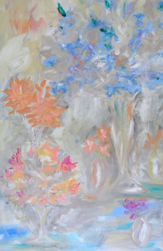 Original painting flowers abstract acrylic large 24x36 blue for Painting large flowers in acrylic