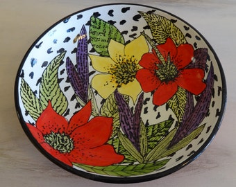 Yellow and Red Lilies Large Pasta/Serving Bowl