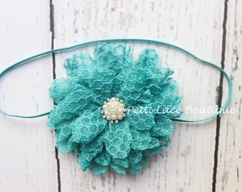 TEAL,14 COLORS AVAILABLE, Skinny band, newborn, toddler, girls hair bows,Shabby chic flower, Chiffon flower, flower headband