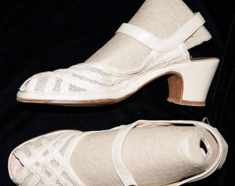 1940s Womens Mesh Shoes Sz 8.5N Vintage Sling Back Peep Toe