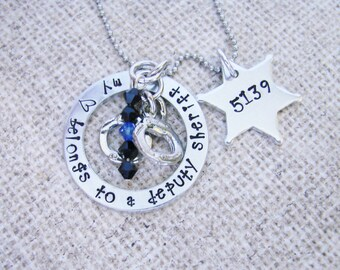 My heart belongs to a deputy sheriff- hand stamped necklace- police jewelry- deputy sheriff- Thin blue line- police wife-deputy wife-sheriff