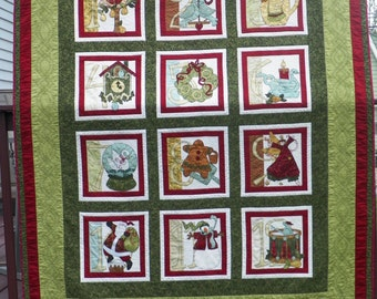 Appliqued 12 Days of Christmas Quilt.