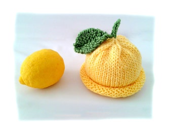 Instant download, knitting PATTERN for Baby Lemon Hat (PDF file), baby and toddler sizes, accessories