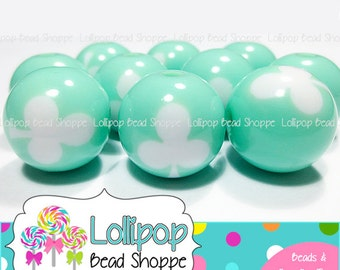 MINT GREEN Three Leaf Clover Beads 16mm Round Chunky Necklace Bead 20pk Plastic Shamrock Beads St Patrick's Day Acrylic Resin Gumball Beads