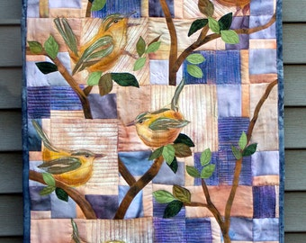 Hand painted fabric art quilt, wallhanging - Wrens