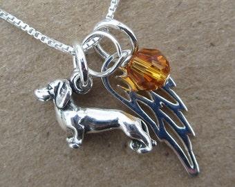 Dachshund Mini Angel Wing  Sterling Silver Necklace (birthstone charm)