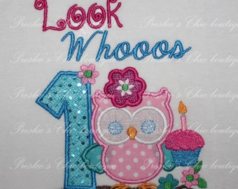 Owl, look who's 1, Birthday T-shirt or bodysuit. Perfect for an owl themed Birthday party or for pictures. Add your child's name and age.