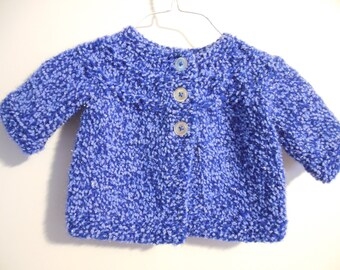 Blue Sparkle hand knit baby Sweater