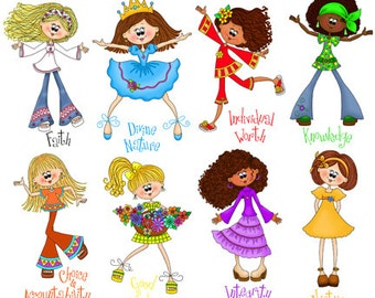 Cute Young Women Value Girls - Digital Clipart - Instant Downloadable PNG Files