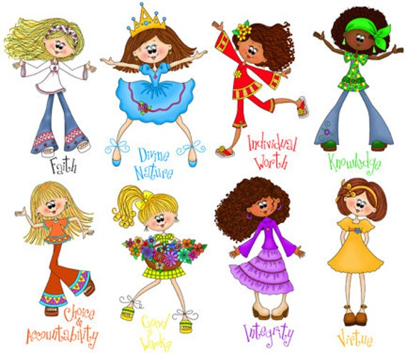 Cute Young Women Value Girls Digital Clipart Instant