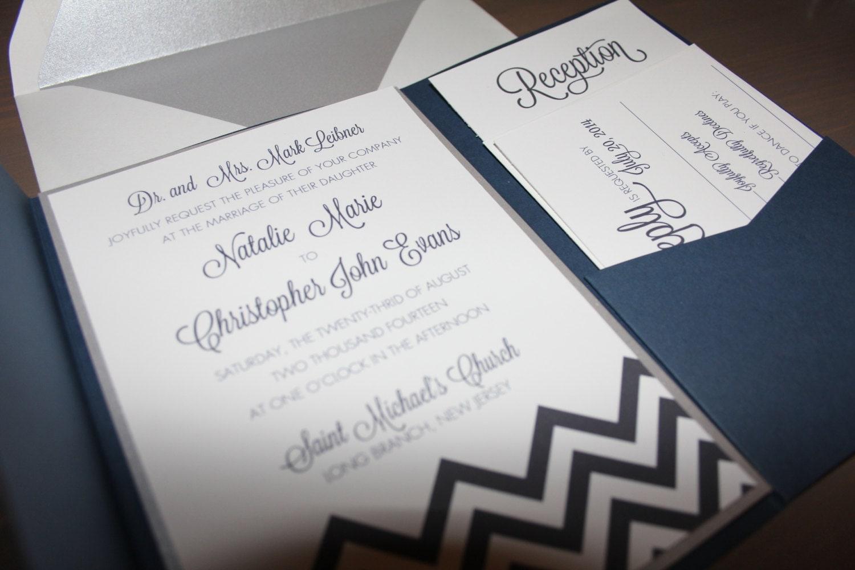 Pocket Wedding Invites: Navy Blue POCKET CHEVRON Wedding Invitations Chevron Invites
