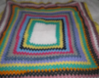 super colourful hand crocheted granny blanket 38 inches square