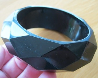 Bangle - another Chunky funky faceted black plastic bangle